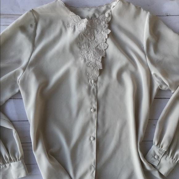 Marlis by Elle Designs Womens Vintage Sequin Blouse Long Sleeve White Sz 10